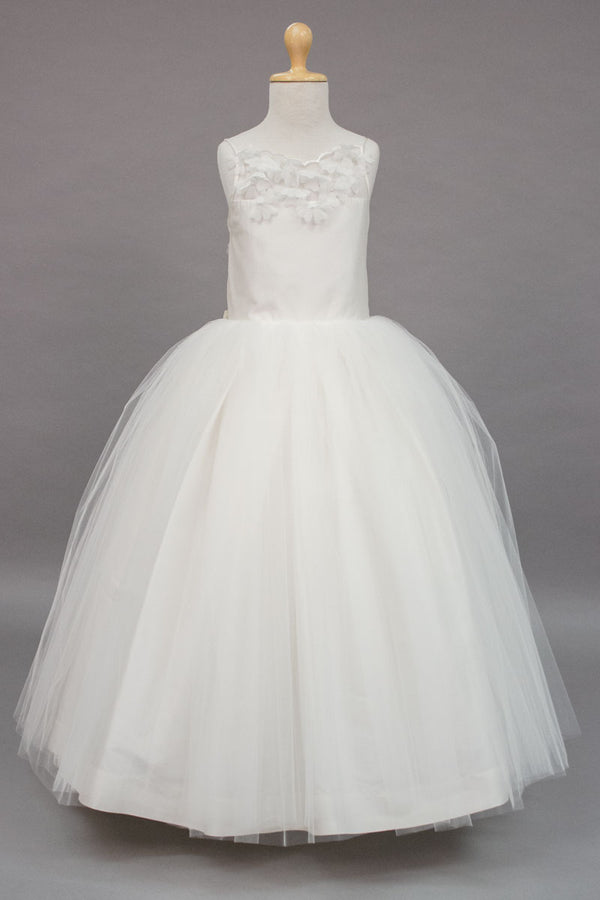 carmens designs custom made flower applique communion dress