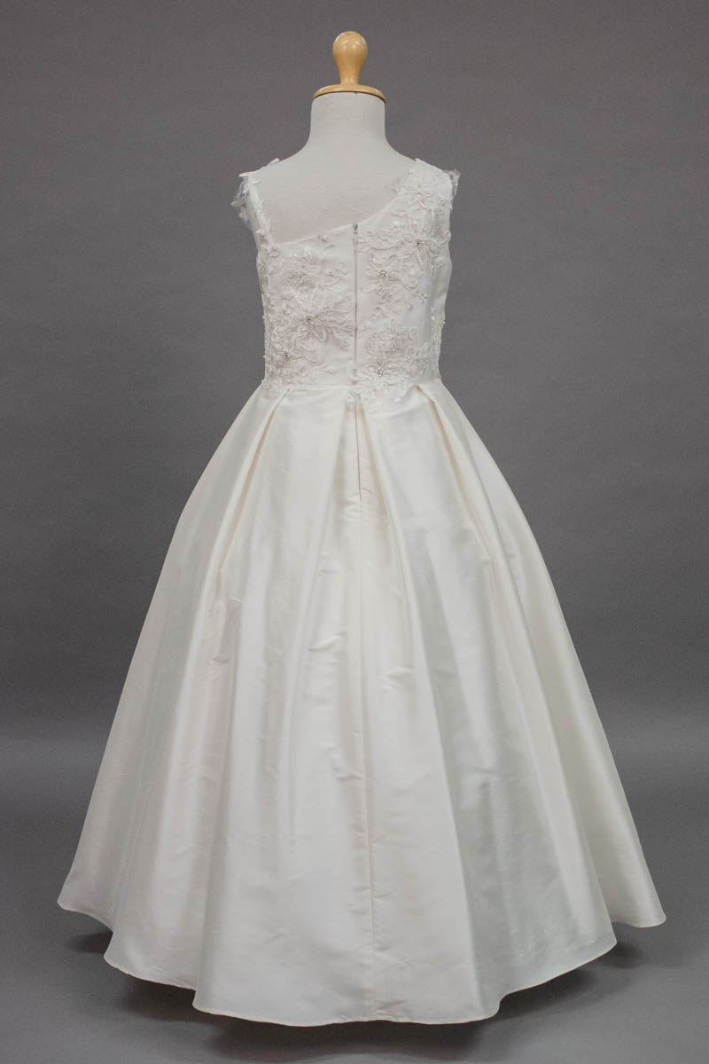 carmens designs custom made asymmetrical sleeves bodice with lace applique and silk skirt communion dress