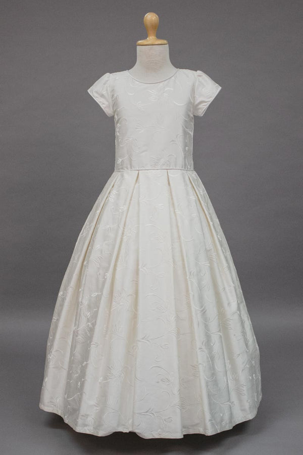 carmens designs custom made flower patterned silk communion dress
