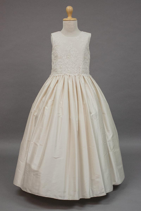carmens designs custom made party dress with  lace bodice and silk ivory skirt