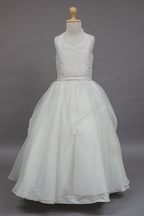 carmens designs custom made Silk and organza halter top communion dress