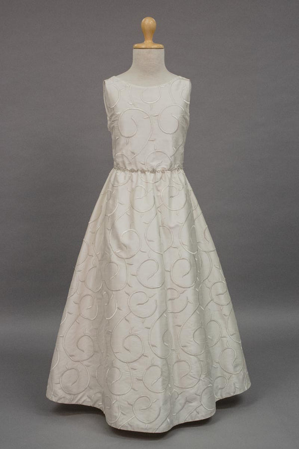 carmens designs Gold thread embroidered silk with sewed belt custom-made dress