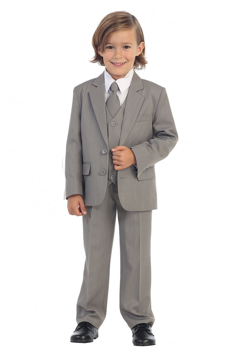 light gray Boys 2-Button Suit set for weddings available at carmens designs