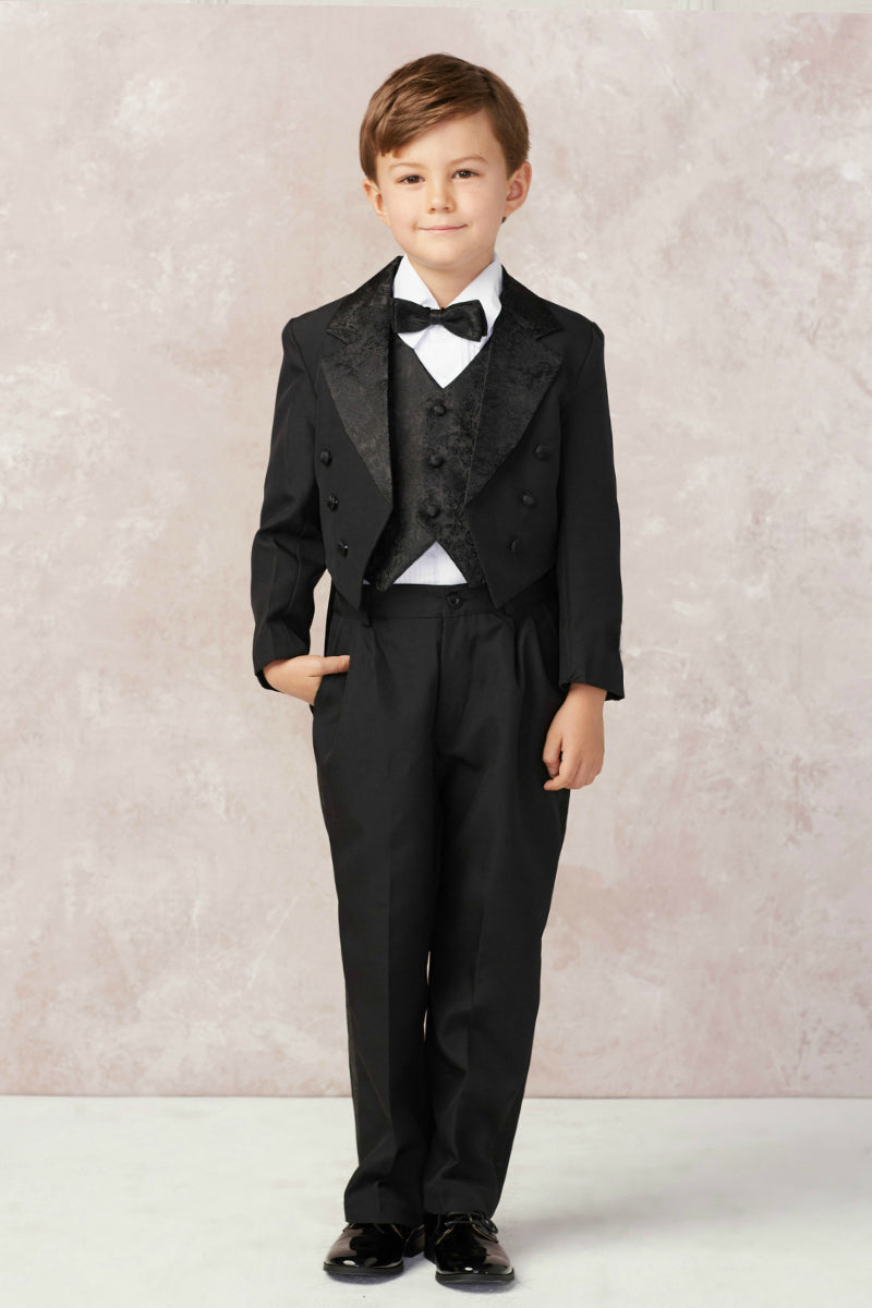 tip top kids Boys Satin Tailed Tuxedo Set available at carmens designs toronto