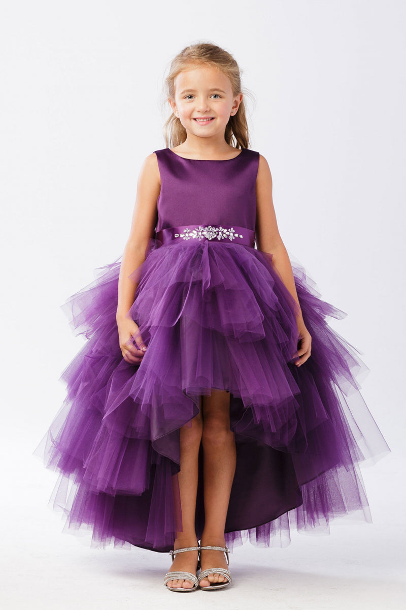 Ruffled Tulle High-Low Dress tip top kids in colour eggplant purple
