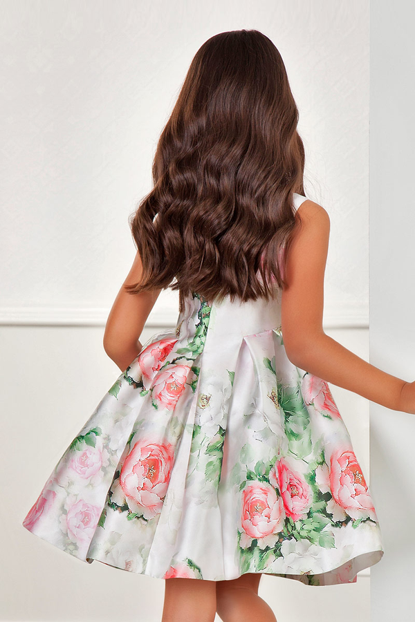 carmens designs girls printed mikado flower dress for special occasions