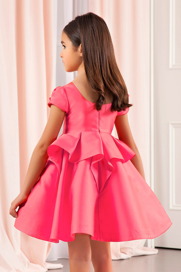 carmens designs girls party dress made in mikado with ruffles in red