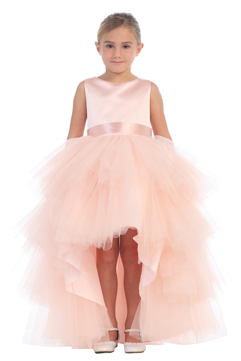 Ruffled Tulle High-Low Dress in blush from tip top kids available at carmens designs in toronto
