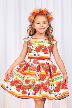 girls formal dress with flower and stripe pattern