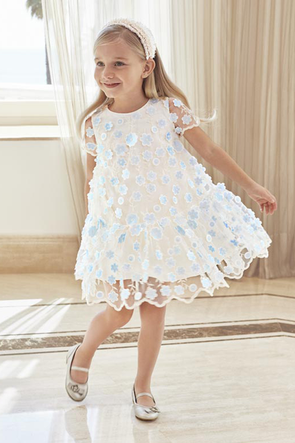 abel and lula girls Sheer Ivory and Blue Flower Dress for special occasions