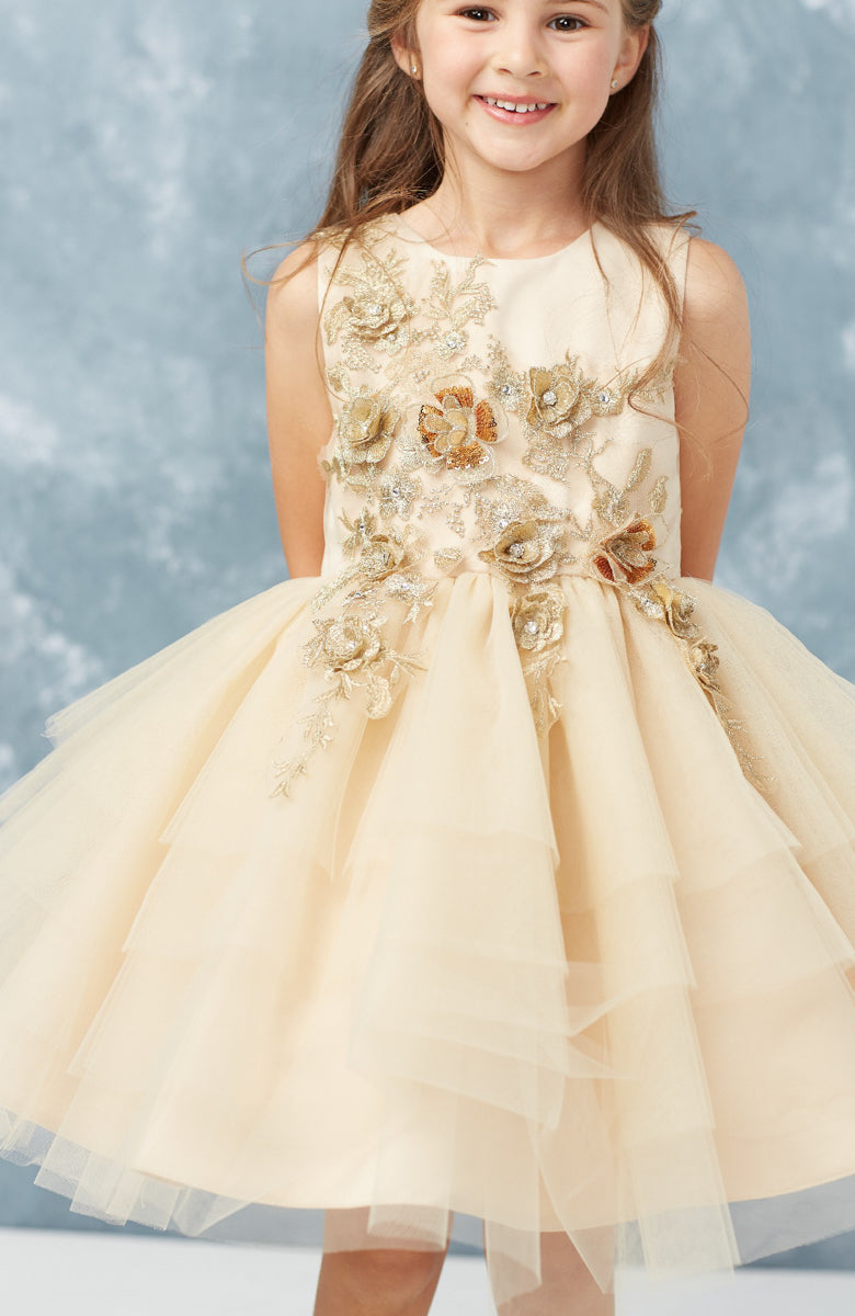 Short Layered Tulle Pageant Dress with Lace Applique tip top kids