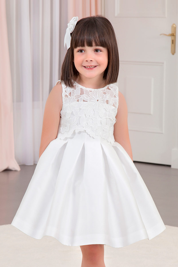 carmens designs girls white Guipure Mikado Dress