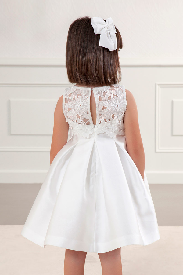 carmens designs girls white Guipure Mikado Dress for special occasions from abel and lula