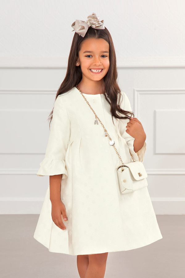carmens designs POLKA-DOT JACQUARD COAT IVORY for kids