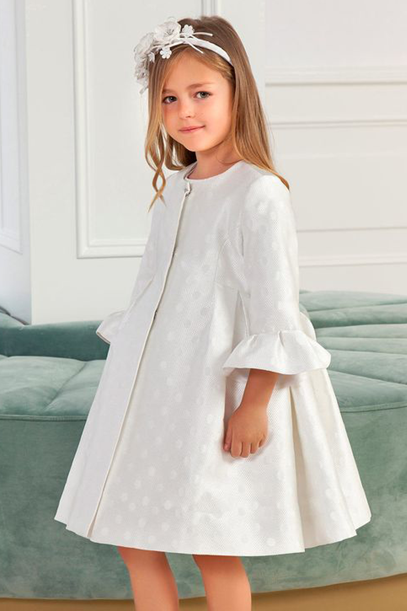 carmens designs formal wear polka-dot jacquard coat for kids in ivory from abel and lula