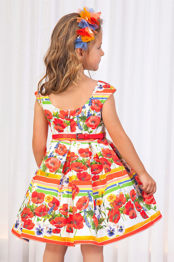 printed flower formal girl dress for wedding and party