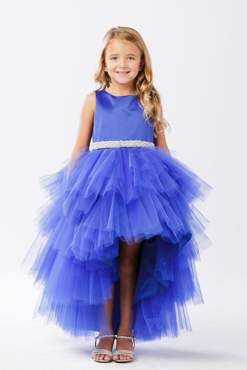 wedding Ruffled Tulle High-Low Dress in royal blue for girls