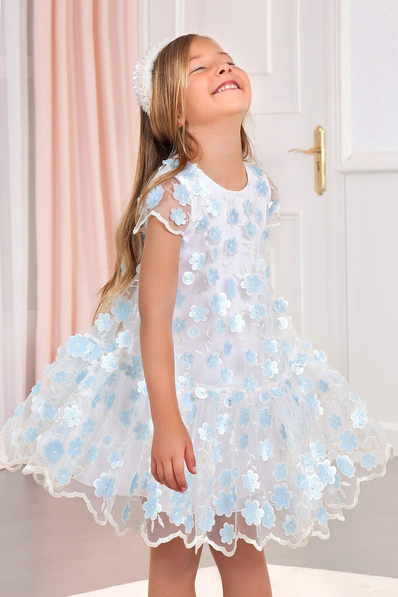 carmens designs girls Sheer Ivory and Blue Flower Dress for party and wedding