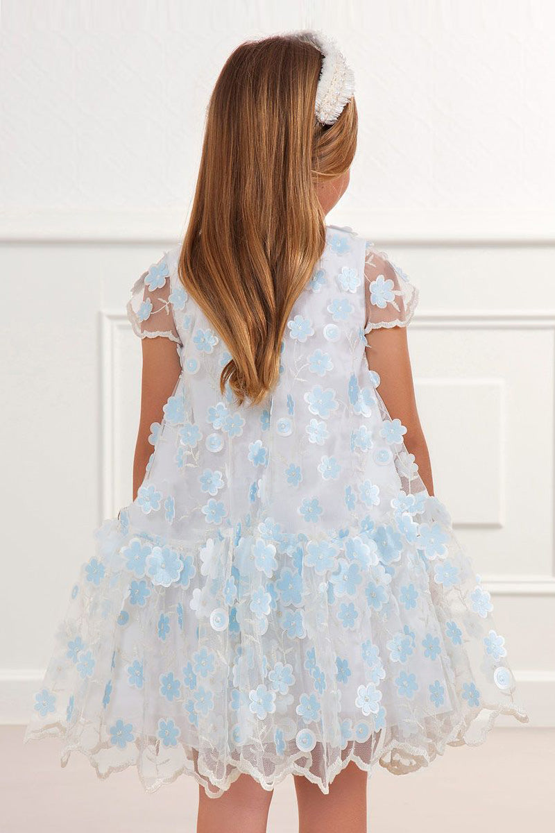 special occasion girls dress with sheer flower tulle in ivory and blue