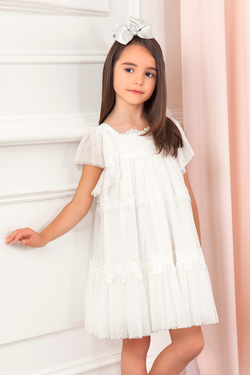 carmens designs girls Embroidered tulle with flowers and pleated tulle dress for special occasions