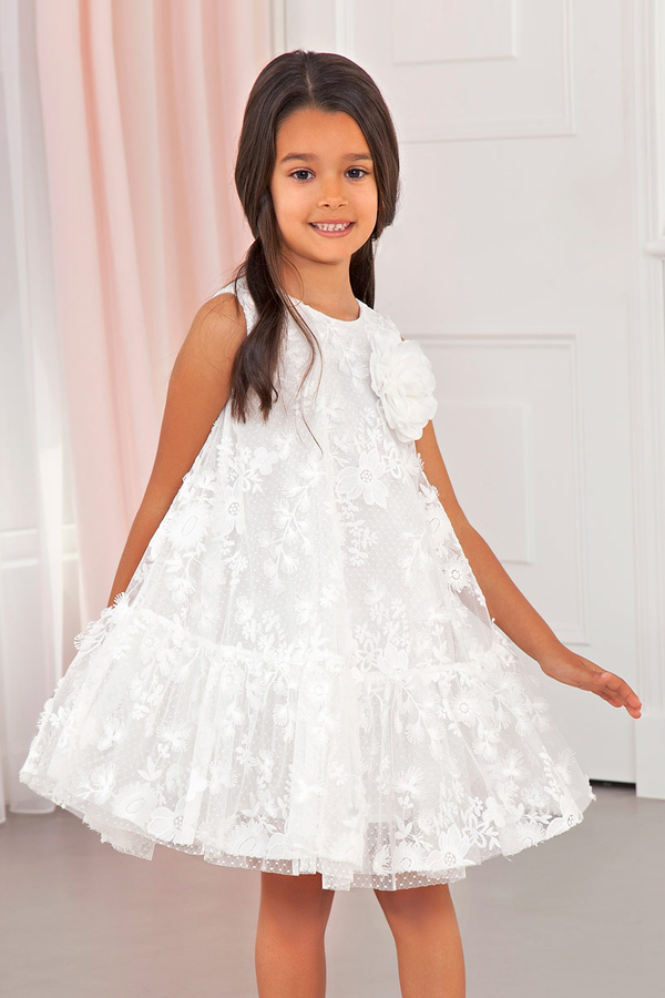 Tulle Embroidery Flower Dress in white from abel and lula available at carmens designs