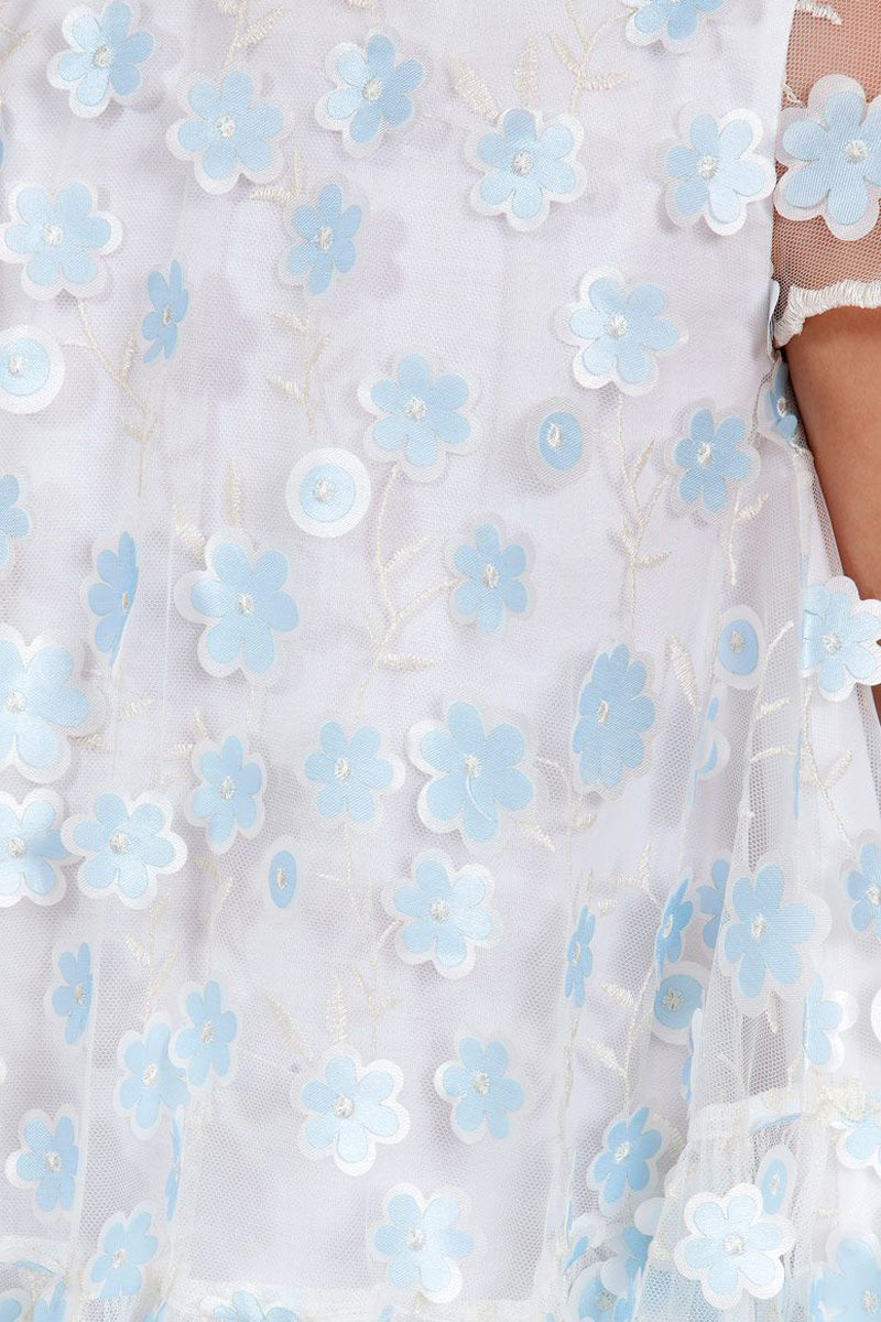 carmens designs soft Sheer Ivory and Blue Flower Dress from abel and lula
