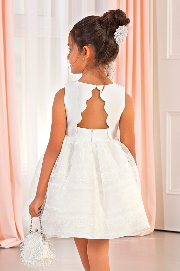 carmens designs formal wear kids Mikado Dress with wavy details in white