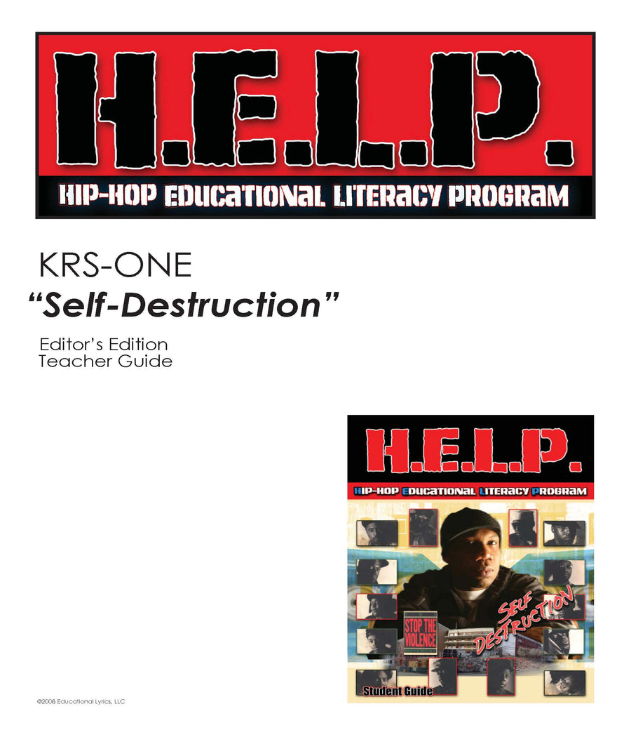 "H.E.L.P. SG, TG Combo — KRS ONE and Stop The Violence Movement ""Self-Destruction"""