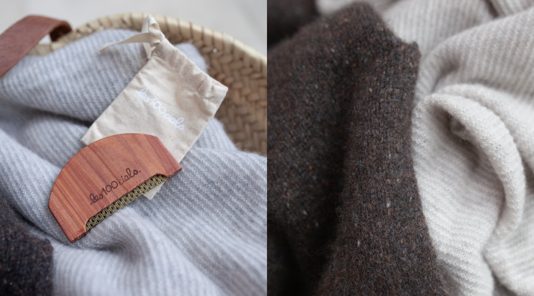 Close up of Les Cent Ciels cashmere cedar comb over smoke and brown cashmere jumpers