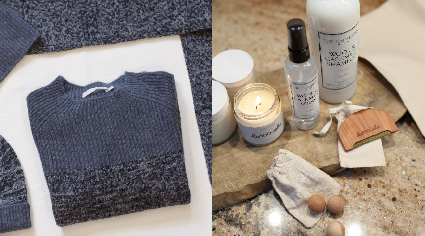 Les Cent Ciels flatlay of cashmere jumper and accessories, candles, cashmere comb and cedar balls accompanied by The Laundress Wool & Cashmere washing products