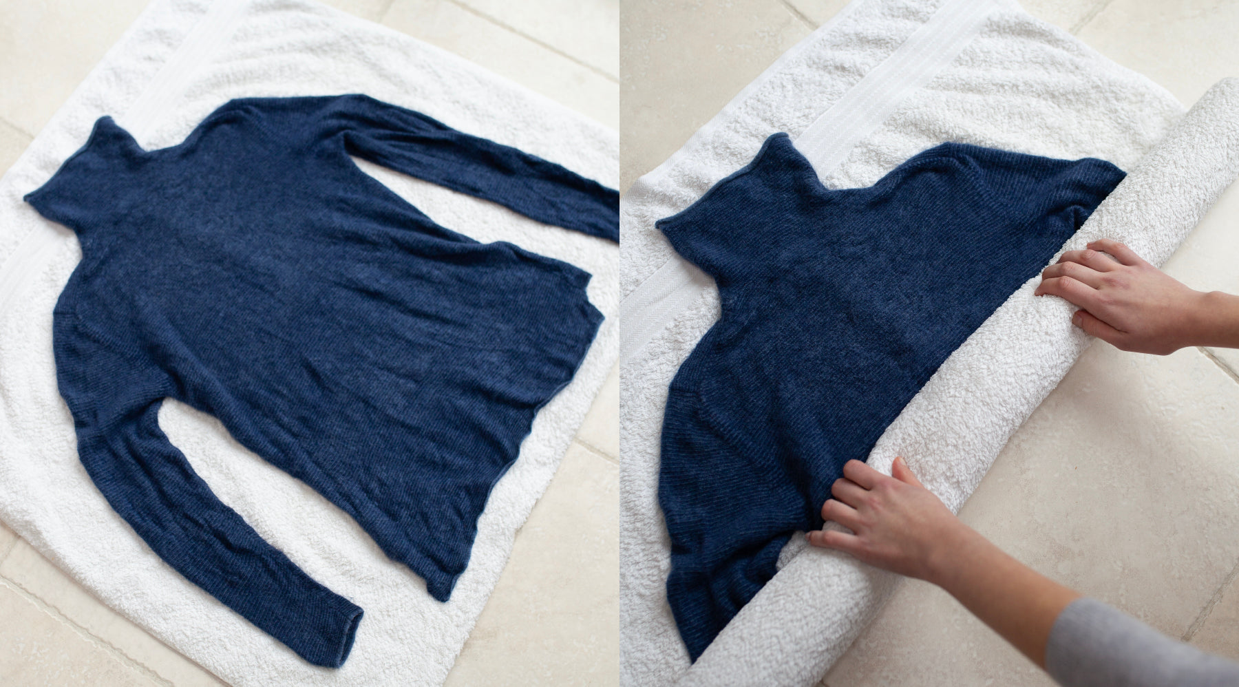Les Cent Ciels navy jumper layed flat over a towel being rolled to rinse excess water