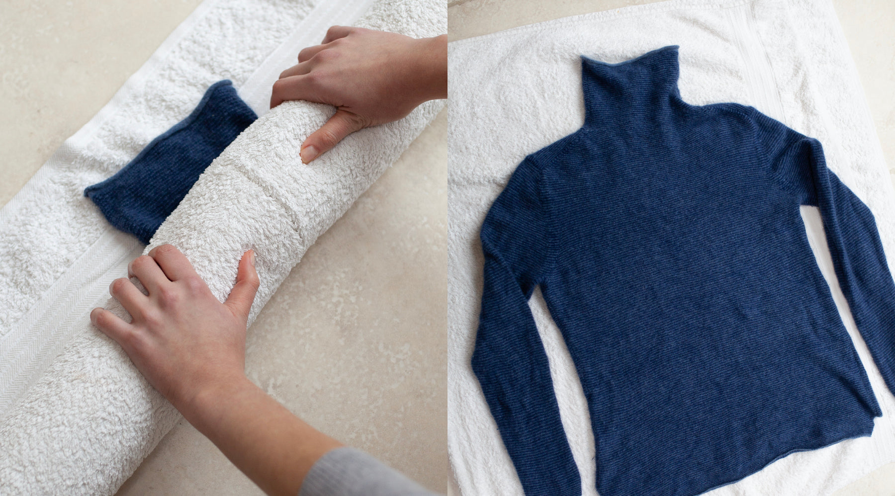 Les Cent Ciels navy jumper layed flat over a towel being unrolled to rinse excess water