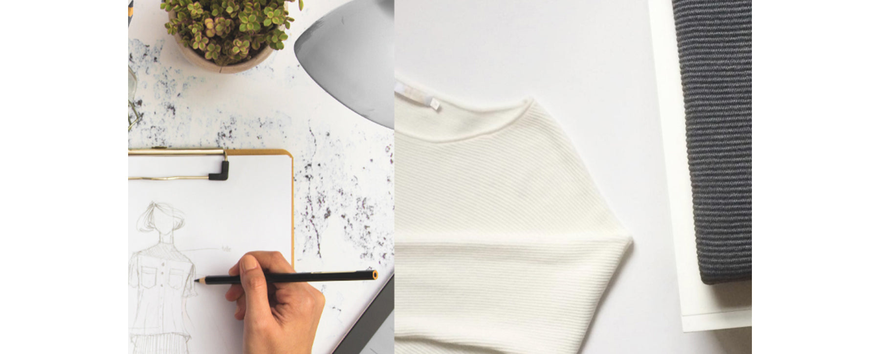 Close up of a fashion sketch with two Les Cent Ciels neutral jumpers