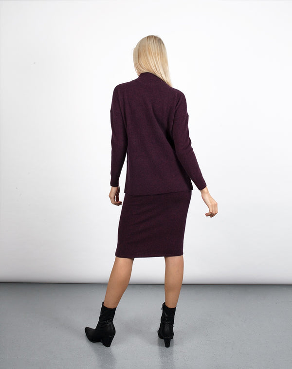 Burgundy Cashmere Pencil Skirt