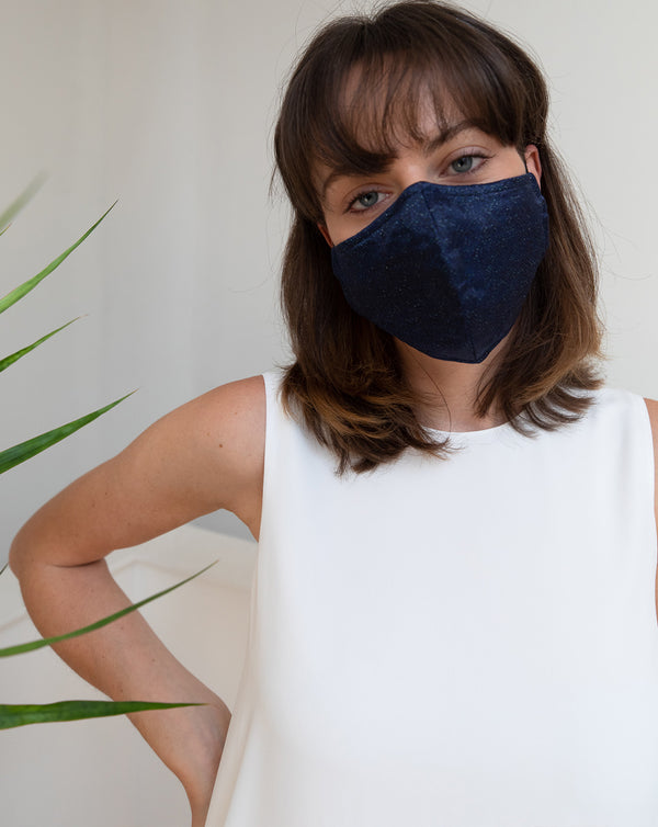 HerbA Silk Face Mask in Navy