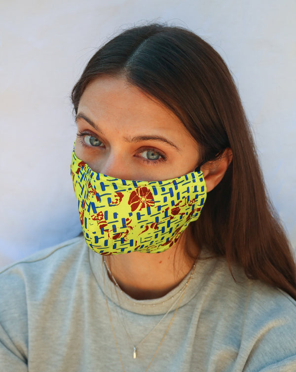 HerbA Silk Face Mask in Yellow Combo