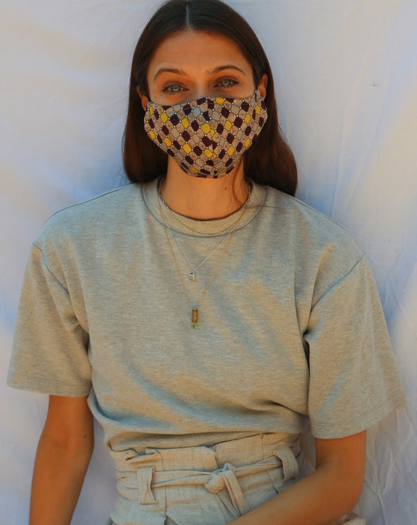 HerbA Silk Face Mask in Grey Combo