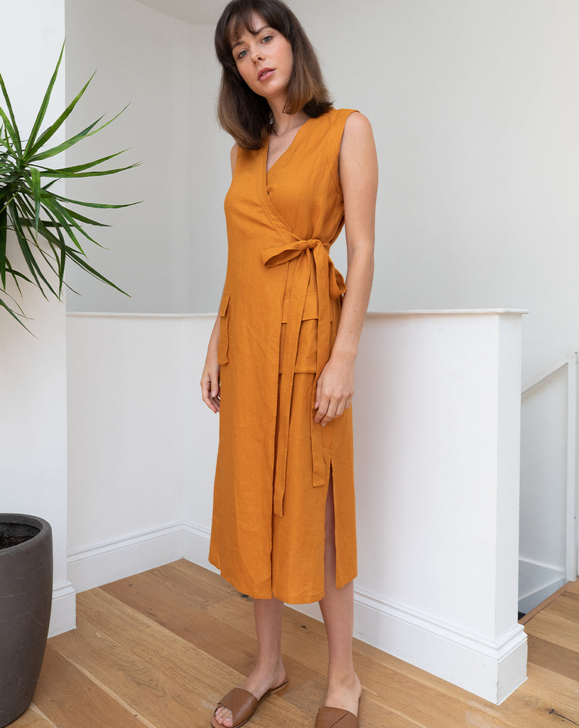 Sofia Linen Wrap Dress