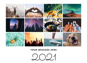 Photo Collage 2020 / 2021 memories Label landscape and your personalised message