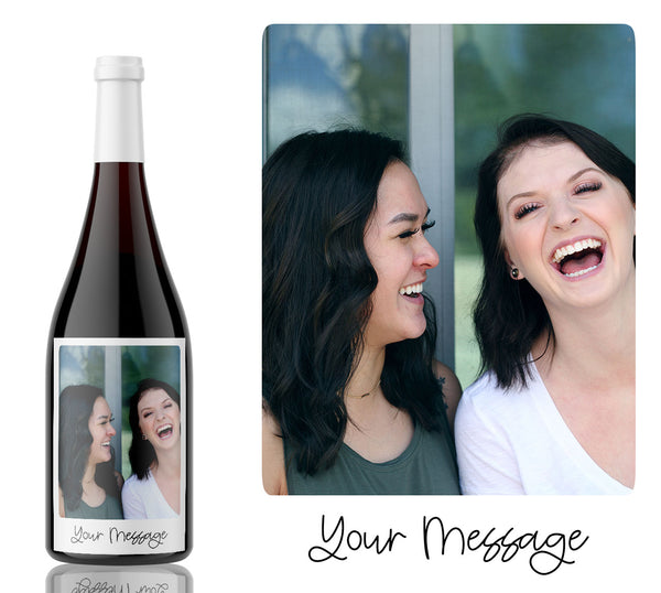 Photo Birthday, wedding, new year, celebration wine Label