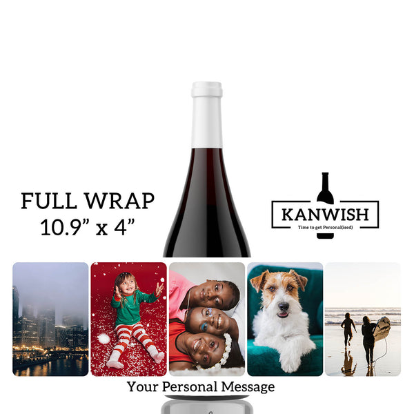Photo Birthday / thank you / wedding / milestone / anniversary Full Wrap Gift Label Single or up to 5 photos - Curvy Bottle