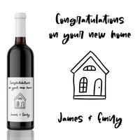 Congratulations on your New Home! House Warming Wine Label Gift
