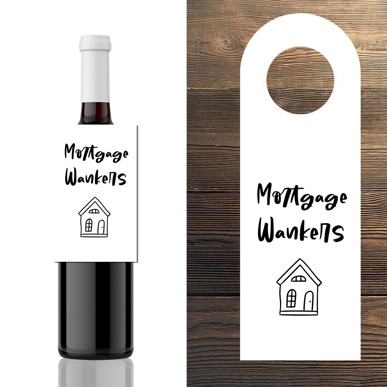 3x House Warming Wine bottle hang gift Label -  Mortgage Wankers