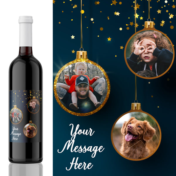 Photo Collage Merry Christmas Label - Baubles Design