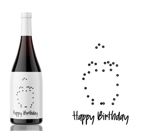 "Join the Dots ""Middle Finger"" Happy Birthday label"