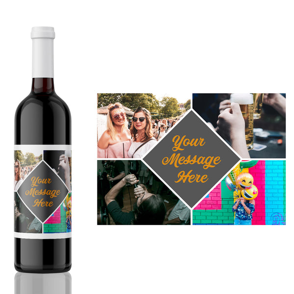 Photo Collage Birthday, wedding, new year, celebration Label landscape