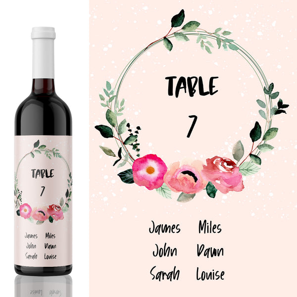 Wedding Table Number Label