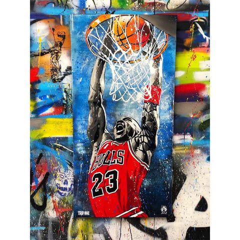 """His Airness"" presented by Artist Replete. Hand Painted by Chicago artist Trip One. Representing Jordan's tenacity and relentless pursuit for excellence on the court."