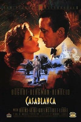 CASABLANCA MOVIE POSTER CLASSIC VINTAGE OLD RETRO FILM THEATRE ROOM  (Size 24 x 36)