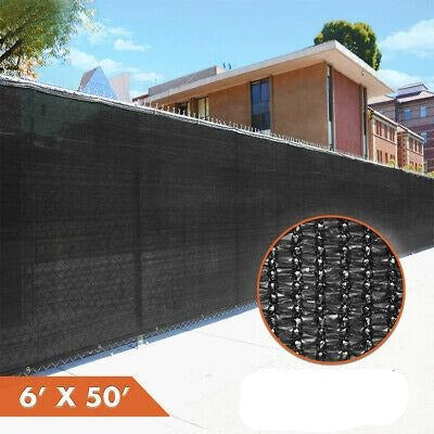 6' x 50' Fence Privacy Screen Black Cover Shade Fabric Mesh Garden Windscreen
